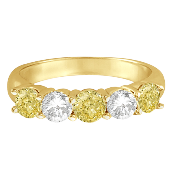 Five Stone White & Fancy Yellow Diamond Ring 14k Yellow Gold (1.50ctw)