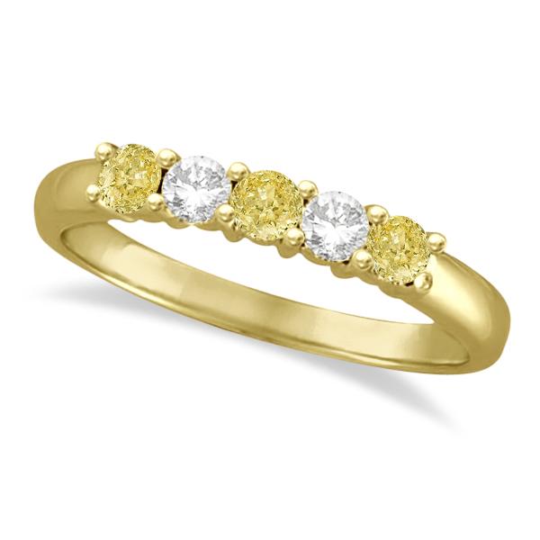 Five Stone White & Fancy Yellow Diamond Ring 14k Yellow Gold (0.50ctw)