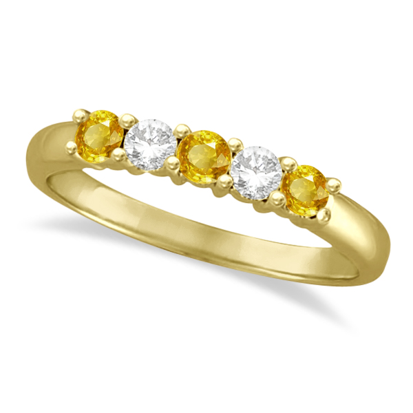 Five Stone Diamond and Yellow Sapphire Ring 14k Yellow Gold (0.55ctw)