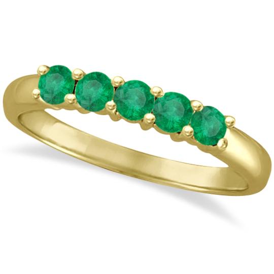 Five Stone Emerald Ring Anniversary Band 14k Yellow Gold (0.60ctw)