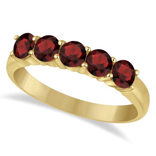 Five Stone Garnet Ring 14k Yellow Gold (1.60ctw)