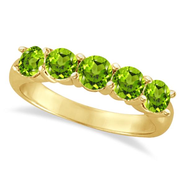 Five Stone Peridot Ring 14k Yellow Gold (2.20ctw)