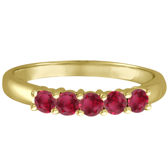 Five Stone Ruby Ring Anniversary Band 14k Yellow Gold (0.60ctw)