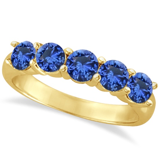 Five Stone Blue Sapphire Ring Band 14k Yellow Gold (2.20ct)