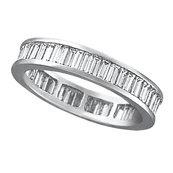 Baguette Diamond Eternity Ring Band 18k White Gold (2.10ct)
