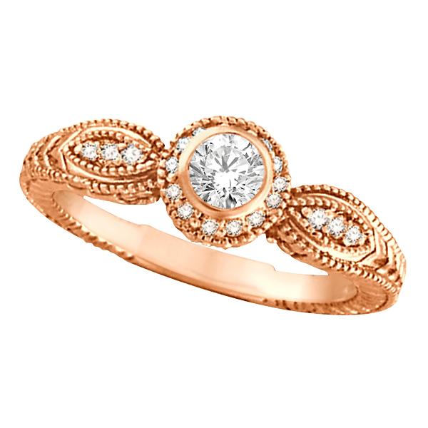Venetian Style Diamond Bezel Ring 14K Rose Gold (0.40 ct)