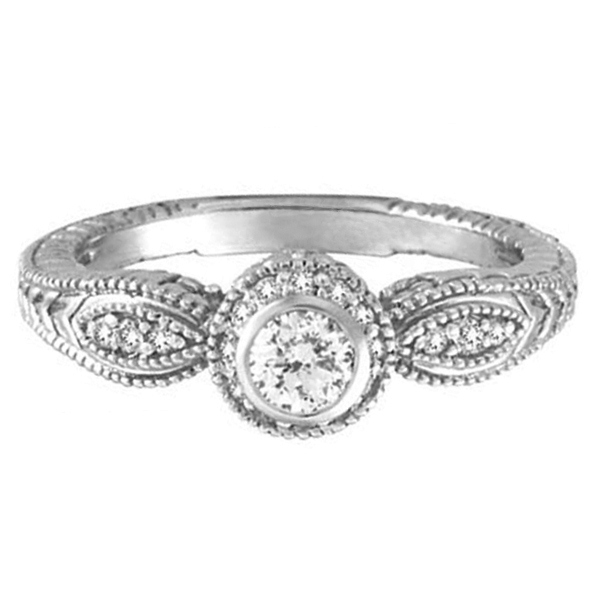 Venetian Style Diamond Bezel Ring 14K White Gold (0.40 ct)