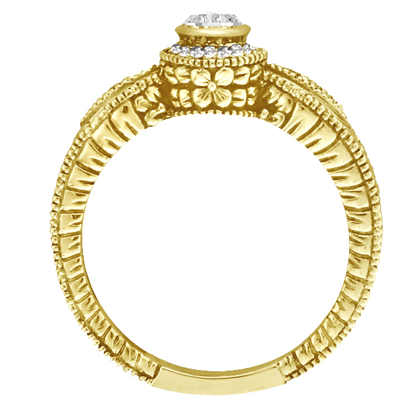 Venetian Style Diamond Bezel Ring 14K Yellow Gold (0.40 ct)