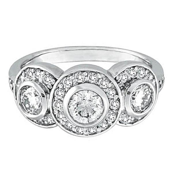 Bezel & Prong Set Diamond Three-Stone Ring 18k White Gold (1.76ctw)