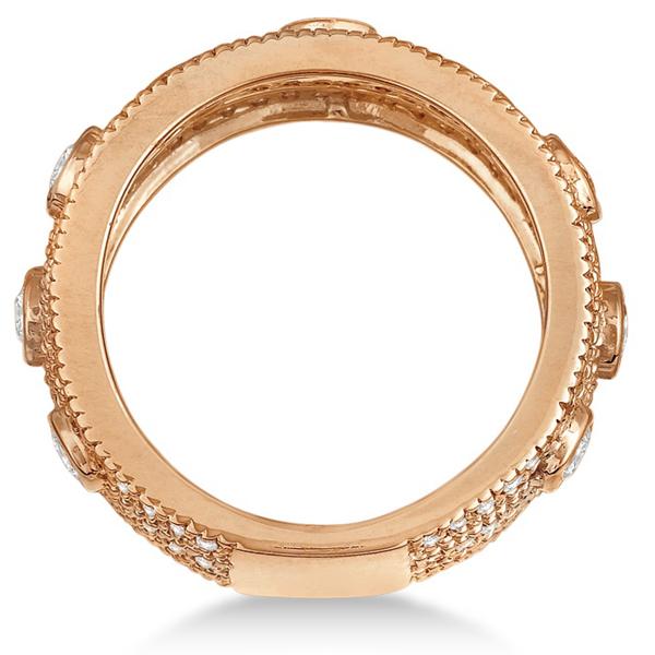 Vintage Bezel & Pave-Set Diamond Ring Band 14k Rose Gold (1.85ct)