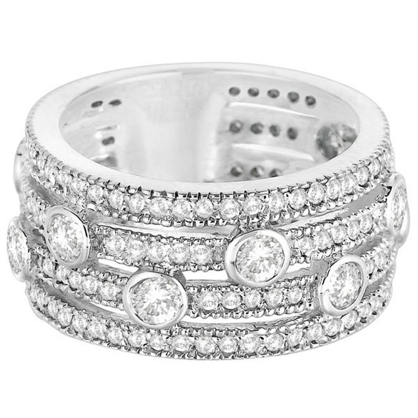 Vintage Bezel & Pave-Set Diamond Ring Band 14k White Gold (1.85ct)
