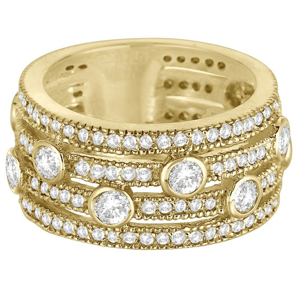 Vintage Bezel & Pave-Set Diamond Ring Band 14k Yellow Gold (1.85ct)