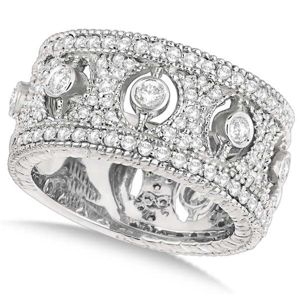 Vintage Bezel-Set Wide Band Diamond Ring 14k White Gold (1.70ct)