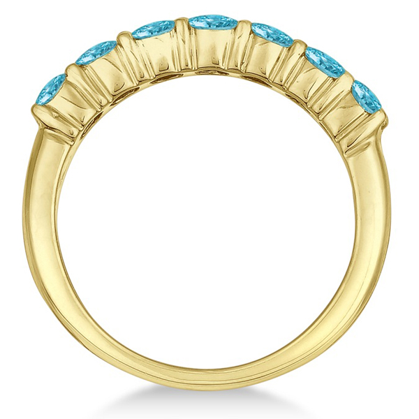 Seven-Stone Fancy Blue Diamond Ring Band 14k Yellow Gold (1.00ct)