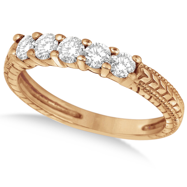 Five-Stone Vintage Filigree Anniversary Ring Band 14k Rose Gold (0.50ct)