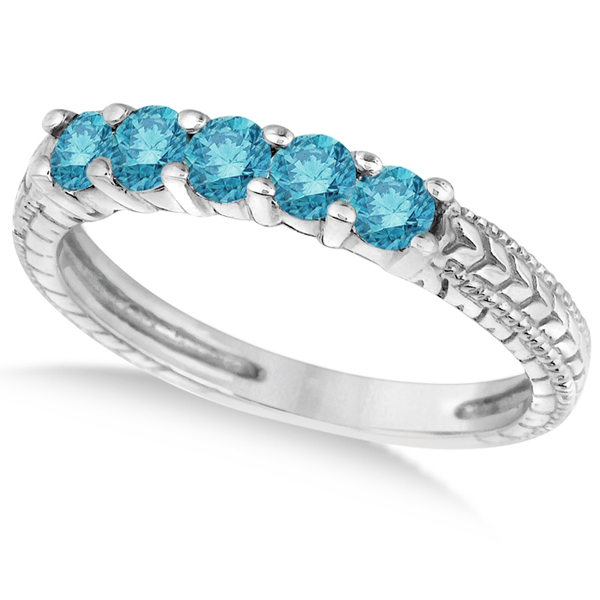 Five-Stone Fancy Blue Color Diamond Ring Band 14k White Gold (0.50ct)