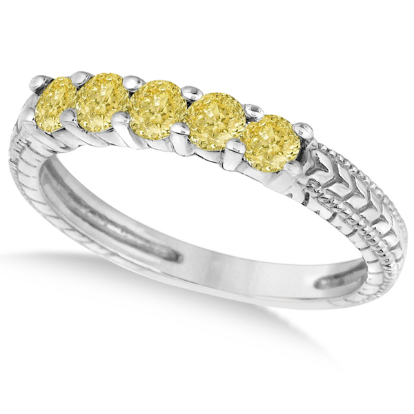 Five-Stone Fancy Yellow Diamond Ring Band 14k White Gold (0.50ct)