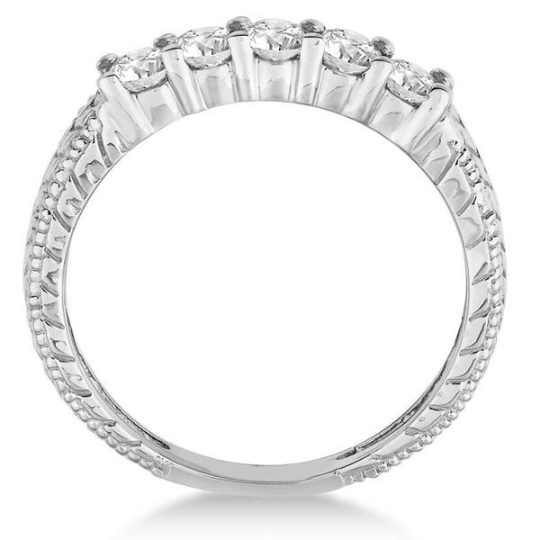 Five-Stone Vintage Filigree Diamond Ring Band 14k White Gold (0.50ct)