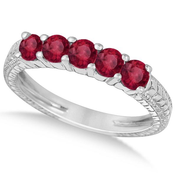 Five-Stone Milgrain Filigree Ruby Ring Band 14k White Gold (0.90ct)