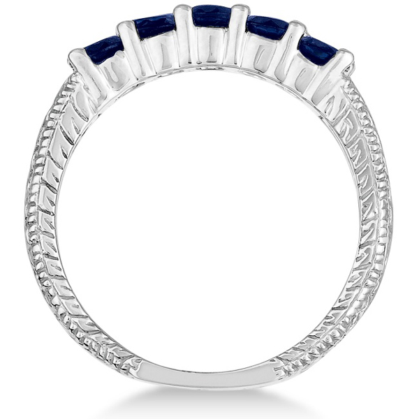 Five-Stone Vintage Blue Sapphire Ring Band 14k White Gold (0.75ct)