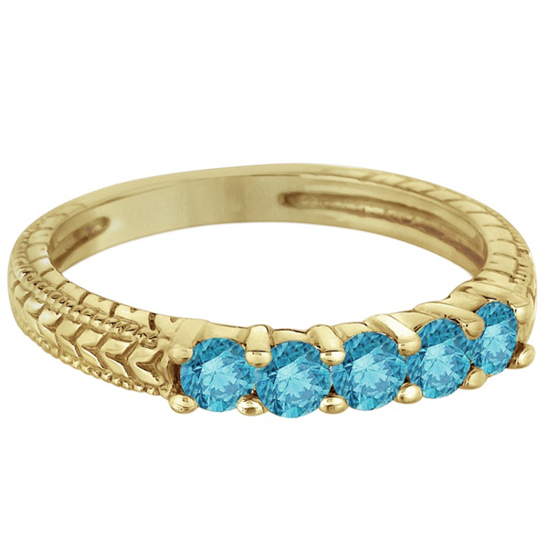 Five-Stone Fancy Blue Color Diamond Ring Band 14k Yellow Gold (0.50ct)