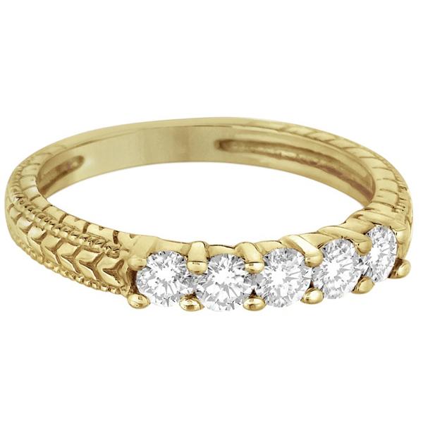 Five-Stone Vintage Filigree Diamond Ring Band 14k Yellow Gold (0.50ct)