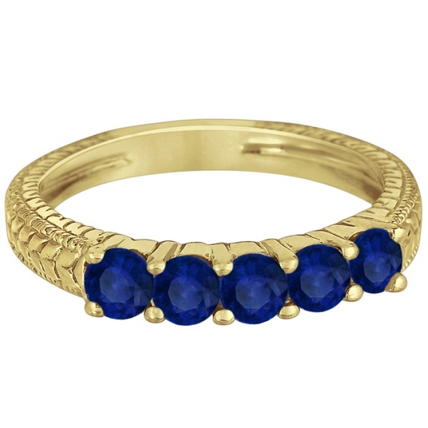 Five-Stone Vintage Blue Sapphire Ring Band 14k Yellow Gold (0.75ct)