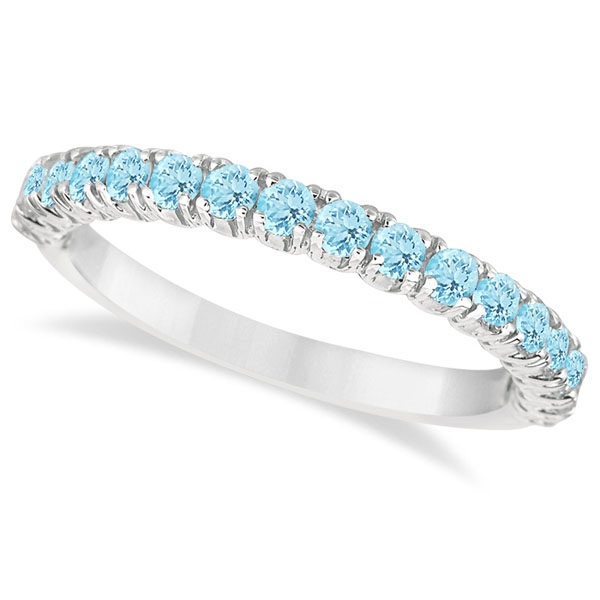 Half-Eternity Pave-set Aquamarine Stacking Ring Palladium (0.95ct)