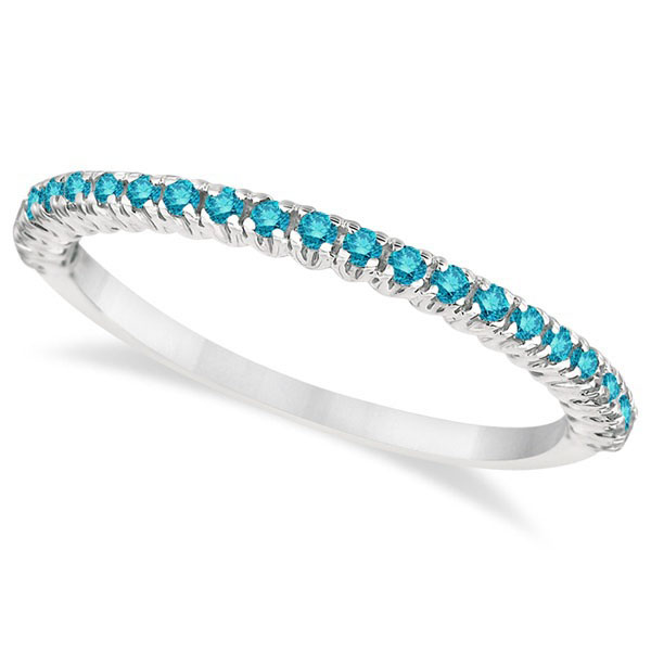Half-Eternity Pave-Set Blue Diamond Stacking Ring Palladium (0.25ct)