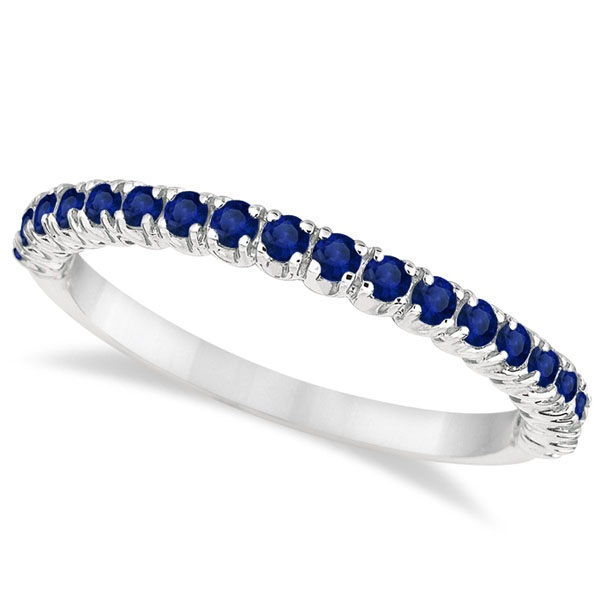 Half-Eternity Pave-Set Thin Blue Sapphire Stack Ring Palladium (0.65ct)