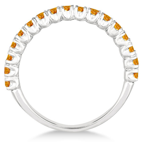Half-Eternity Pave-Set Citrine Stacking Ring Palladium (0.95ct)