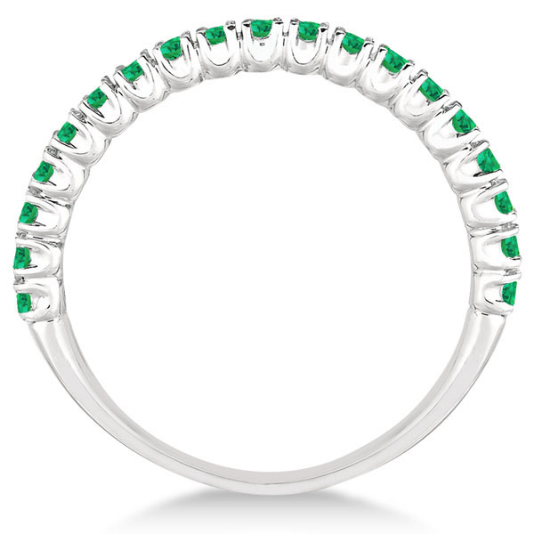 Half-Eternity Pave-set Thin Emerald Stacking Ring Palladium (0.65ct)