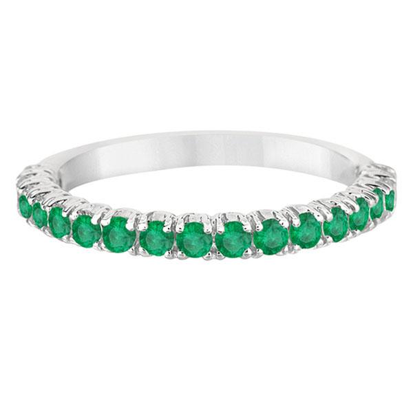 Half-Eternity Pave-set Emerald Stacking Ring Palladium (0.95ct)