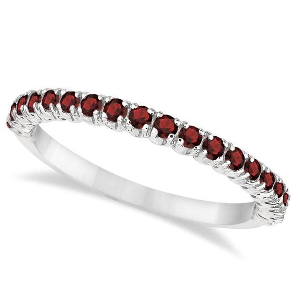 Half-Eternity Pave-Set Thin Garnet Stacking Ring Palladium (0.65ct)