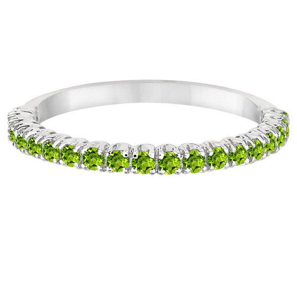 Half-Eternity Pave-Set Thin Peridot Stacking Ring Palladium (0.65ct)