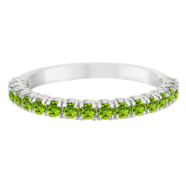 Half-Eternity Pave-Set Peridot Stacking Ring Palladium (0.95ct)