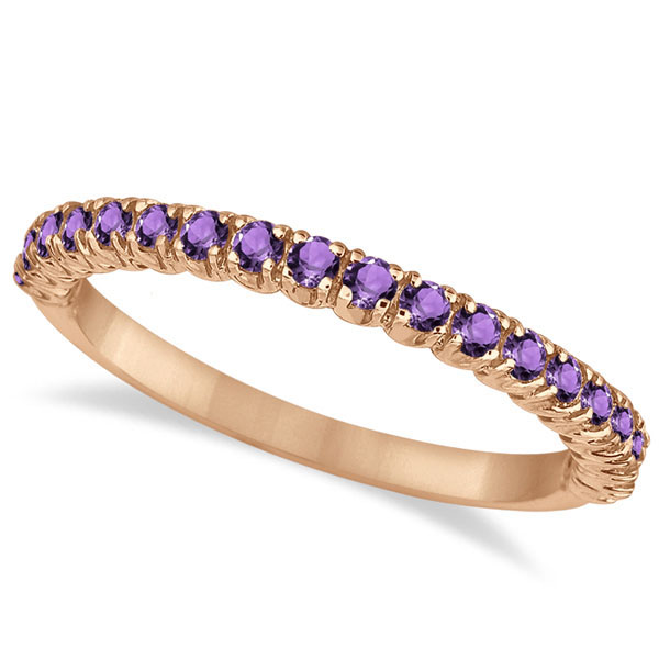 Half-Eternity Pave-Set Thin Amethyst Stacking Ring 14k Rose Gold (0.65ct)