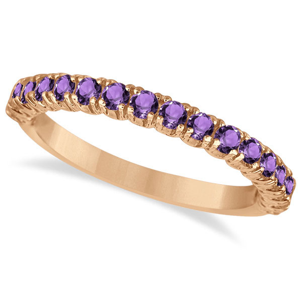 Half-Eternity Pave-Set Amethyst Stacking Ring 14k Rose Gold (0.95ct)