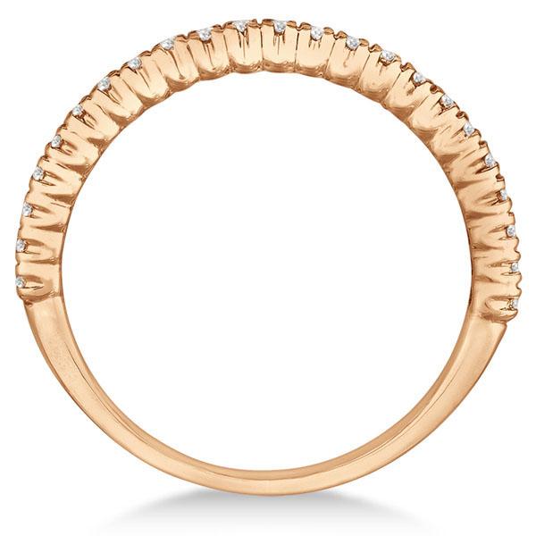 Half-Eternity Pave-Set Diamond Stacking Ring 14k Rose Gold (0.25ct)