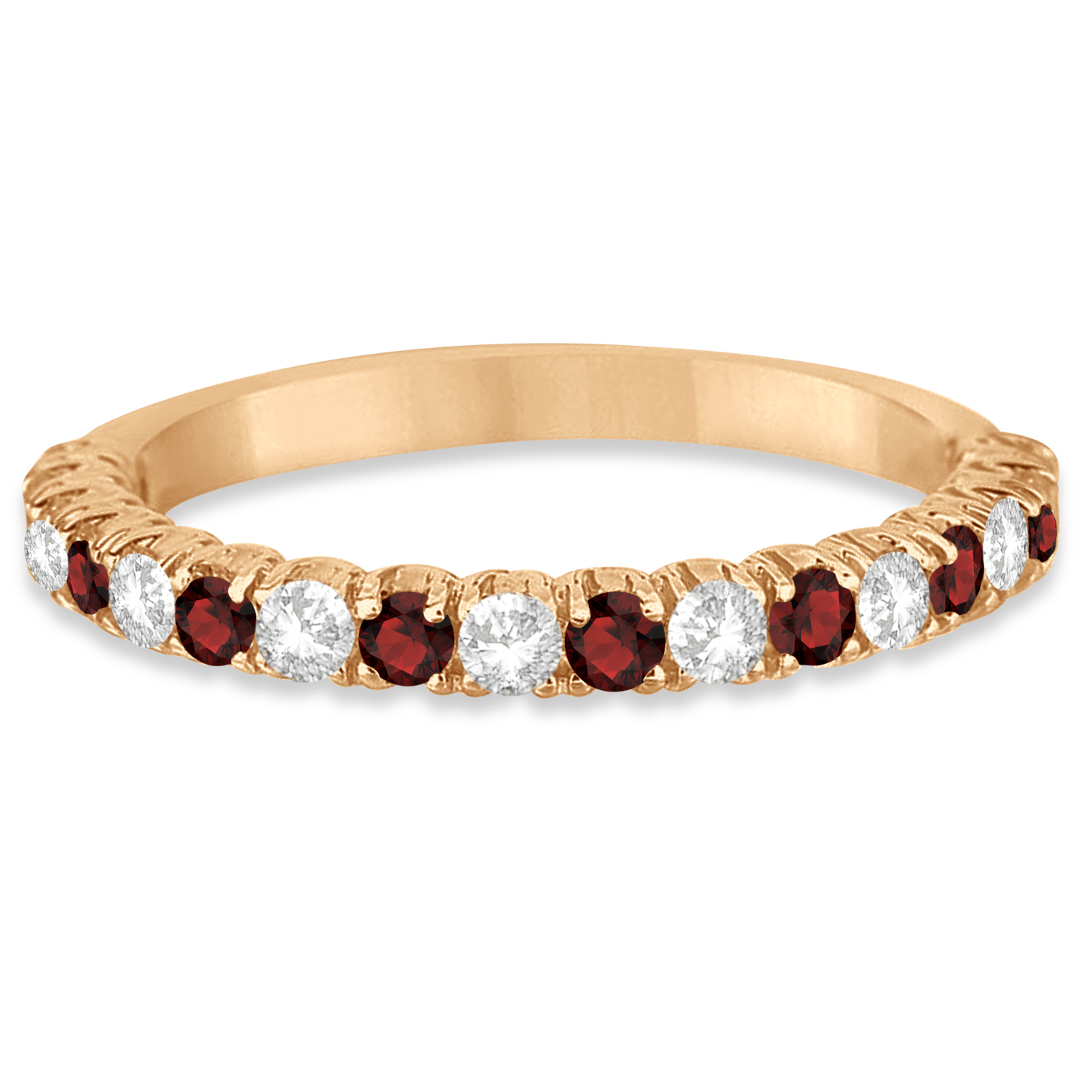 Garnet Ring Bands: Garnet & Diamond Wedding Band Anniversary Ring 14k Rose