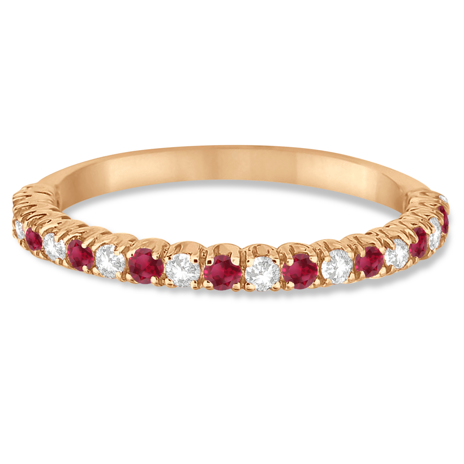 Ruby & Diamond Wedding Band Anniversary Ring in 14k Rose Gold (0.50ct)