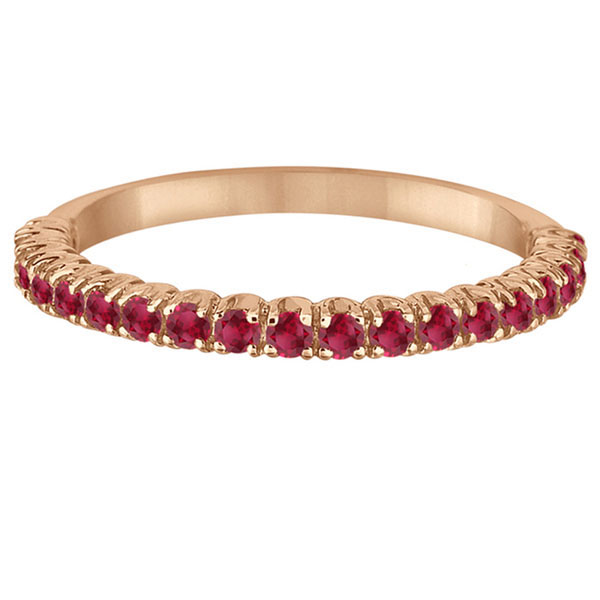 Half-Eternity Pave-set Thin Ruby Stacking Ring 14k Rose Gold (0.65ct)