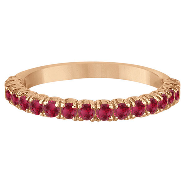 Half-Eternity Pave-set Ruby Stacking Ring 14k Rose Gold (0.95ct)
