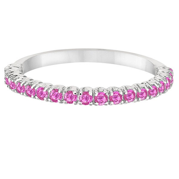 Half-Eternity Pave-Set Thin Pink Sapphire Stack Ring Palladium (0.65ct)