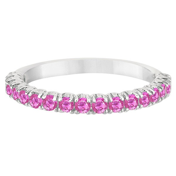 Half-Eternity Pave-Set Pink Sapphire Stacking Ring Palladium (0.95ct)