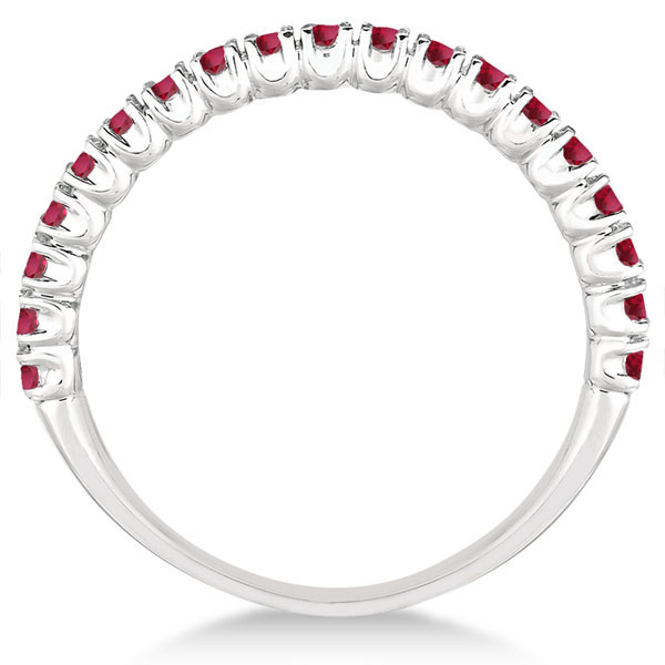 Half-Eternity Pave-set Thin Ruby Stacking Ring Palladium (0.65ct)