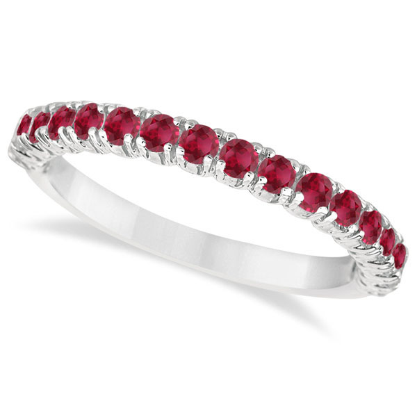 Half-Eternity Pave-set Ruby Stacking Ring Palladium (0.95ct)