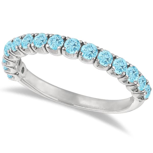 Aquamarine Semi-Eternity Ring Band 14k White Gold (1.09ct)