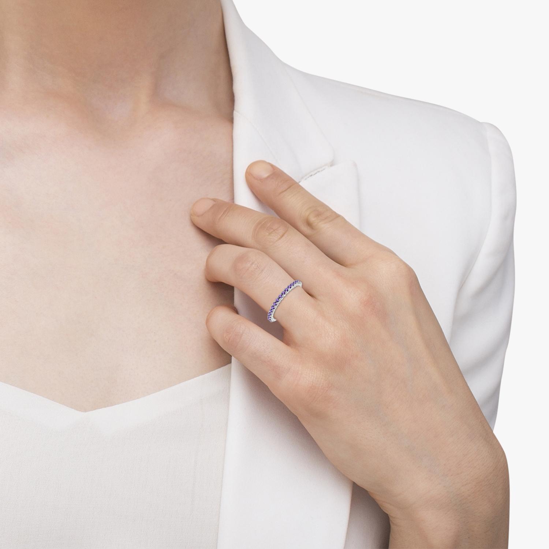 Half-Eternity Pave-Set Thin Amethyst Stack Ring 14k White Gold (0.65ct)