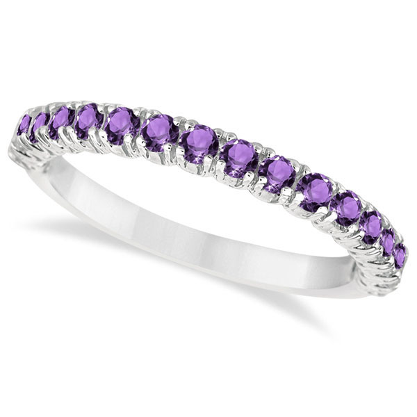 Half-Eternity Pave-Set Amethyst Stacking Ring 14k White Gold (0.95ct)